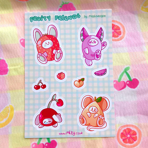 Fruity Friends A6 Sticker Sheet