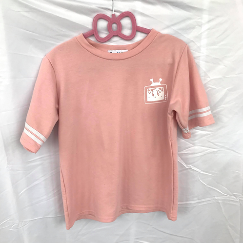TV May Contrast Tee Pink/White Size S/M