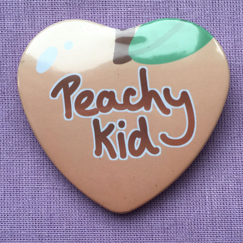 Peachy Kid Heart Shaped Badge