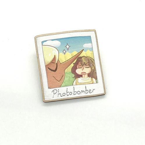 Photobomber Polaroid Wooden Brooch Pin