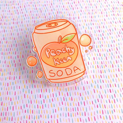 Peach Soda Acrylic Pin