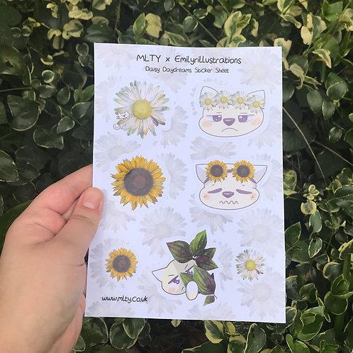 A5 Sunflower Daisy Cat Sticker Sheet