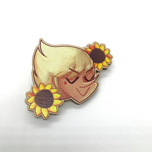 Jeff Sunflower Wooden Brooch Pin