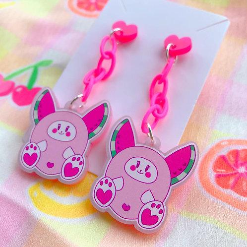Watermelon Bunny Pink Chain Earrings