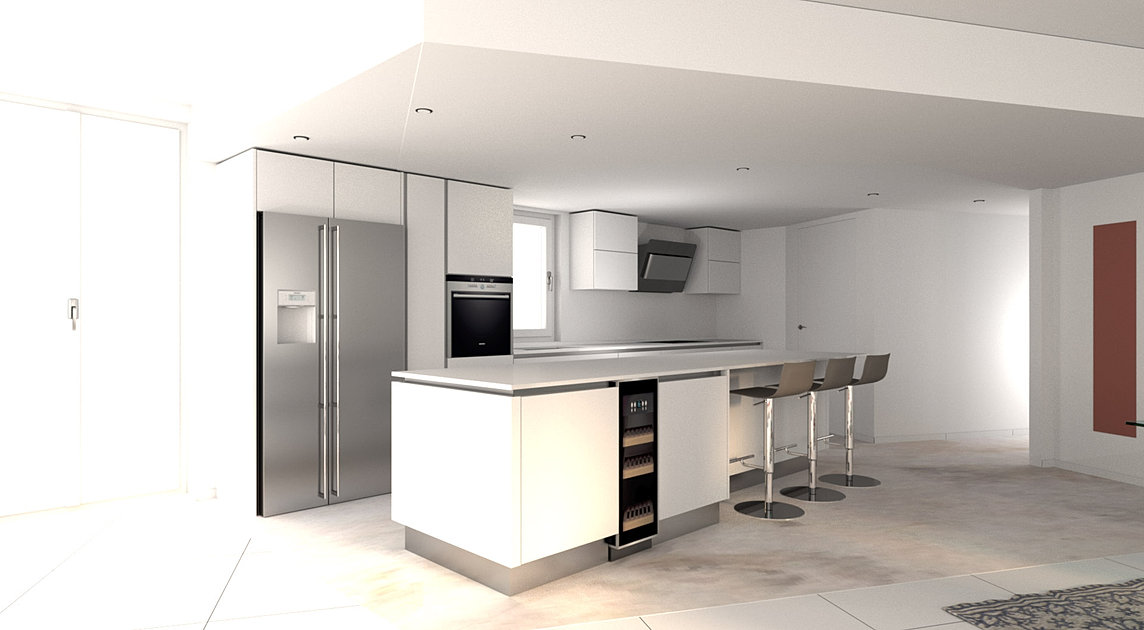 Modern Italian Kitchen Rendering EA3
