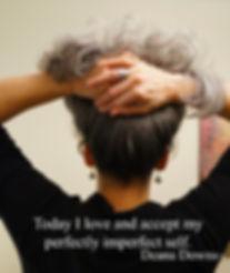 Woman hair held up facing away from camera