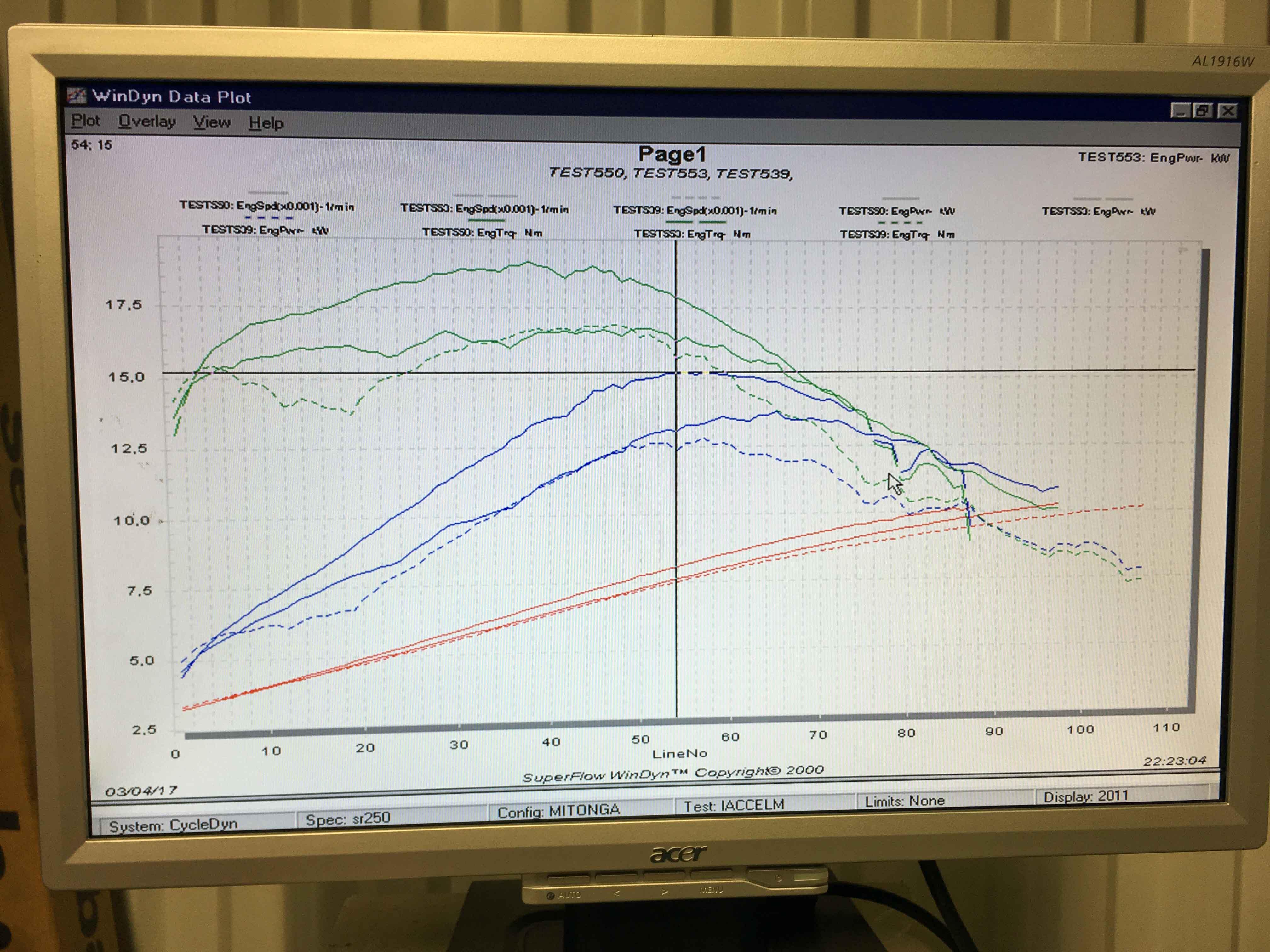 Jadus Dyno Graph - At Engine