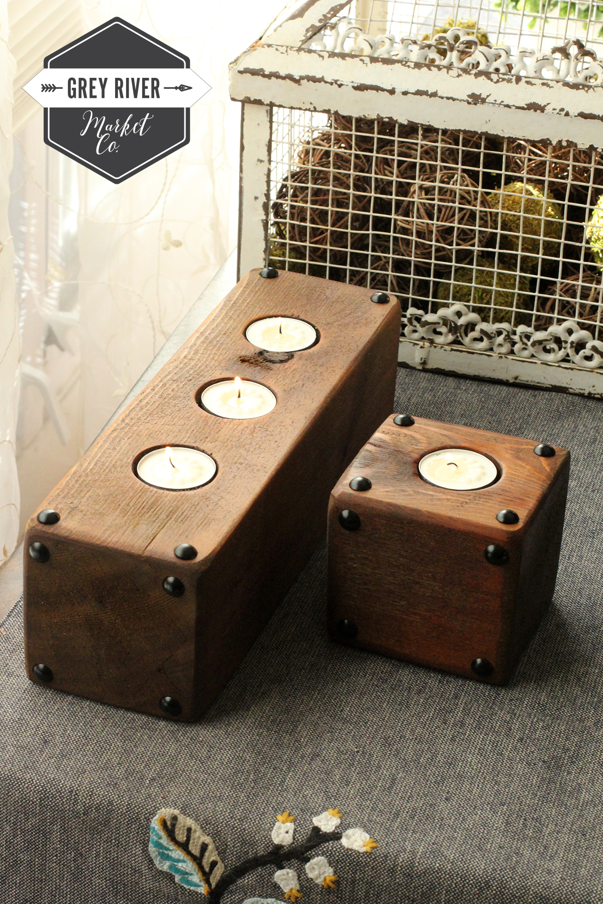 Petite Wood Candle Holders