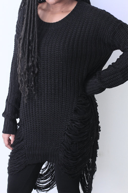 Long Black Sweater with shaggy holes