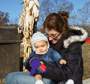 First Step Home Client and her baby at Gorman Farms Outing