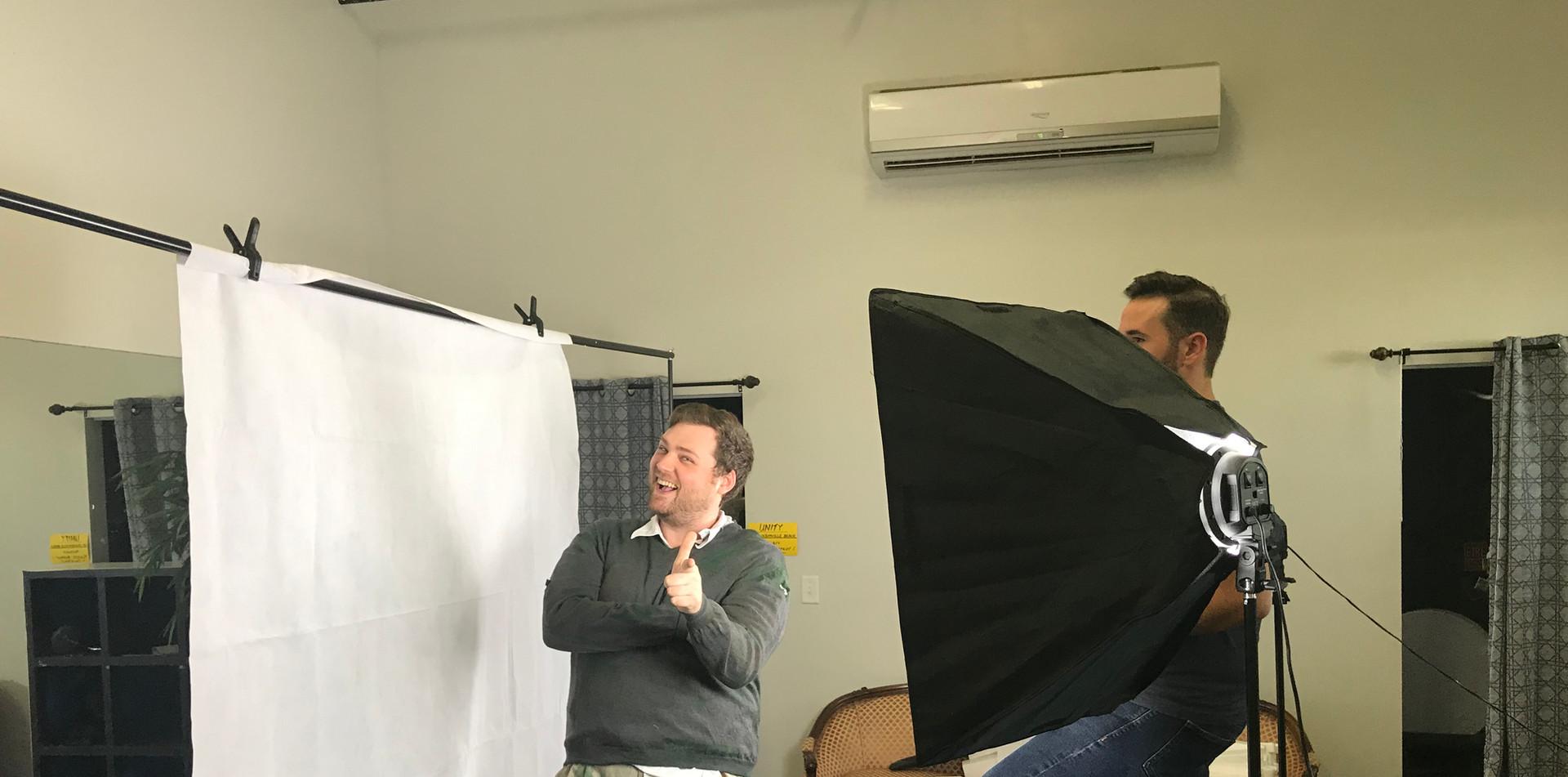 Having fun at the poster shoot!