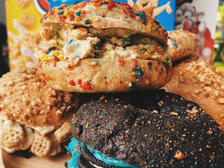 Overloaded Cereal Bagels from ONALU - The Hottest Bagel Spot in Town!