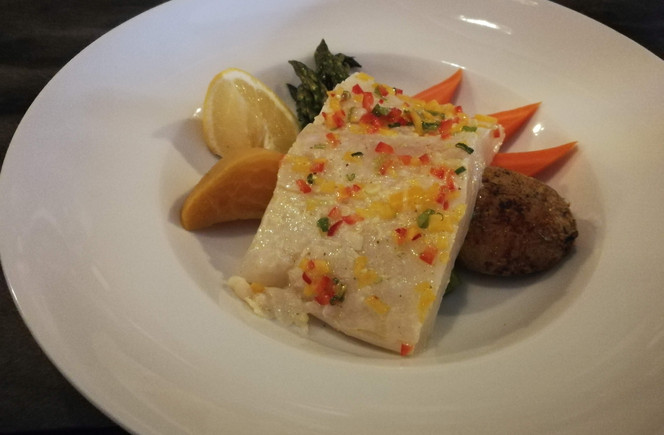Wild Pacific Halibut with diced pepper m