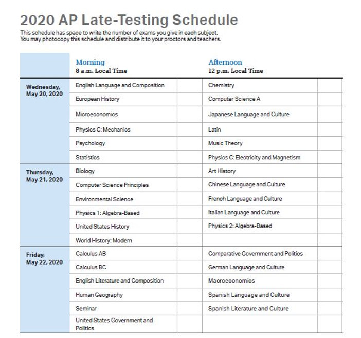 2020 Late AP Exam Schedule.JPG