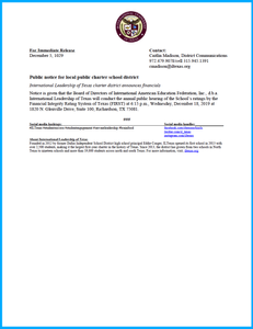 Public Notice December 2019