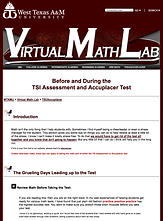 Test Tips from West Texas A&M University's Virtual Math Lab