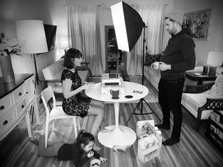 Actors Eleanor Handley & Michael Satow rehearsing Jericho in quarantine 2. [Hover over photo for DOWNLOAD arrow]