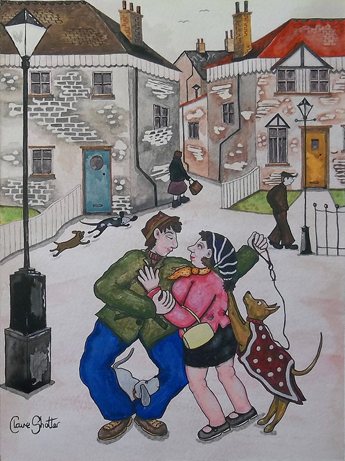 Original Watercolour Landscape Painting By Claire Shotter. Streets. Houses. Dogs