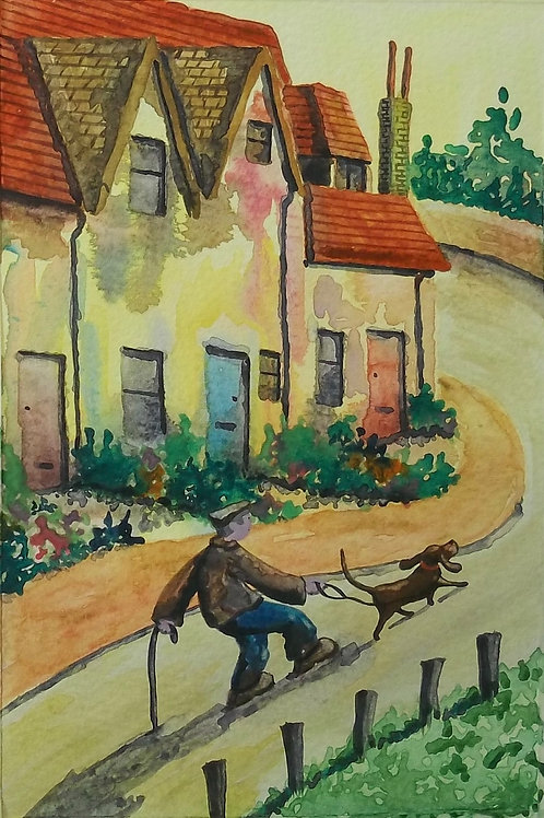 Watercolour Painting By Claire Shotter. Naive Original. Dog. Village. Houses