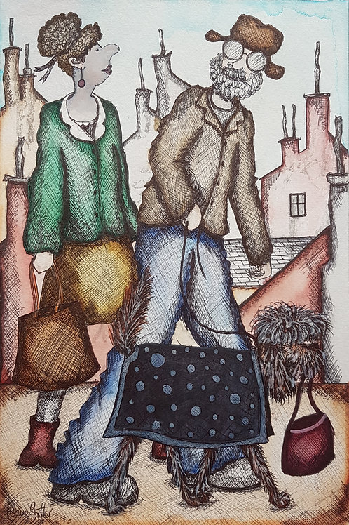 Original naive Northern Street painting by Claire Shotter. Happy Couple. Dog.