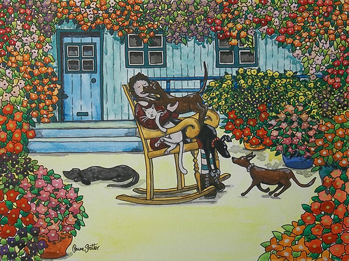 """Painting By Claire Shotter. Naive Original. """"In The Sunny Garden"""". Dogs. Flowers"""