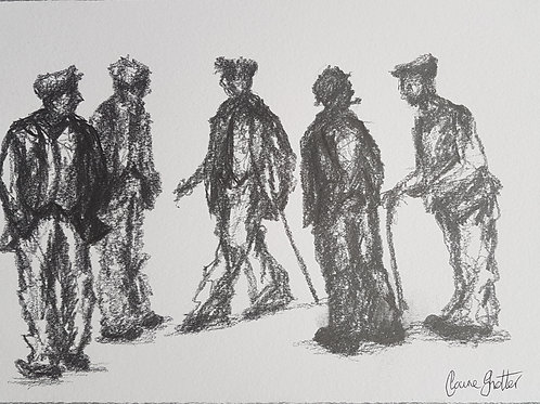 Original naive sketch/drawing of men in flat caps by Claire Shotter. Old farmers