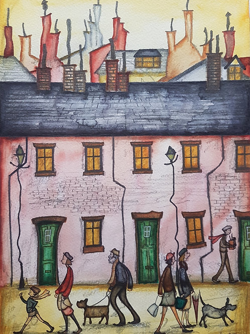 Original naive terrace houses painting by Claire Shotter. People. Dogs. Street