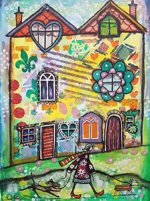 Original Naive Folk Art Houses Painting By Claire Shotter. Dog. Street