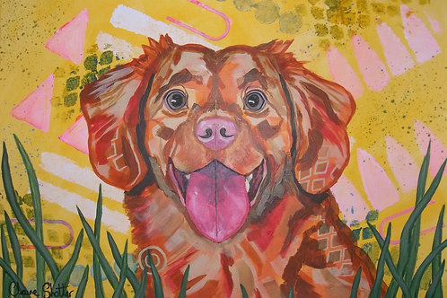 Large Original Painting By Claire Shotter. Golden Retriever. Happy Dog