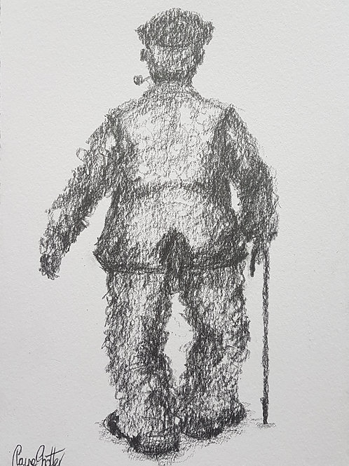 Original naive sketch/drawing by Claire Shotter. Old man in flat cap.