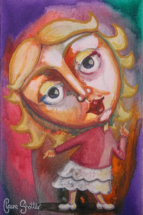 """Original naive painting. """"Tiny Dancer"""" by Claire Shotter. Big eyed girl"""