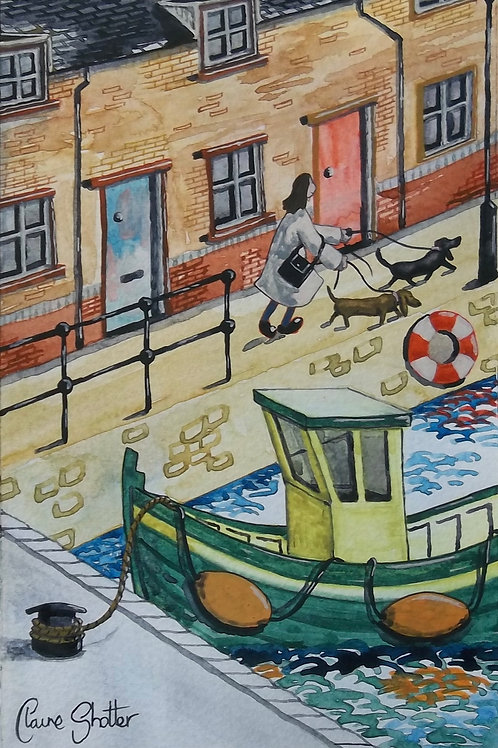 Painting By Claire Shotter. Naive Original. Fishing Boat. Quay. Houses