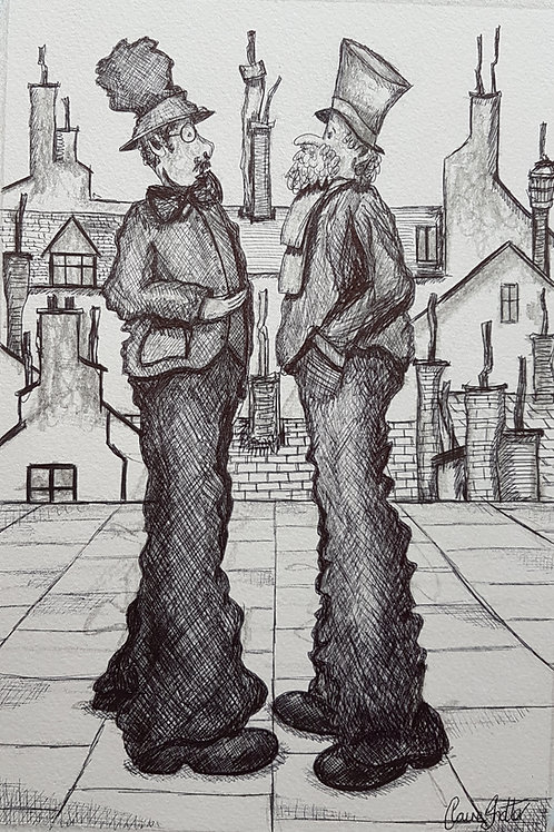 Original Naive Pen And Ink Drawing By Claire Shotter. Street. Men. Houses. Town