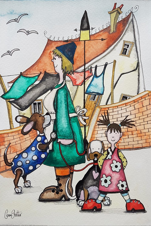 Naive Street Scene Painting By Claire Shotter. Dogs. Washing Line. House