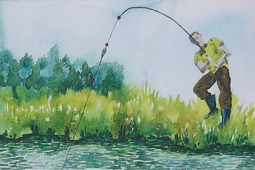Watercolour Painting By Claire Shotter. Original. Fishing. Angling. River.
