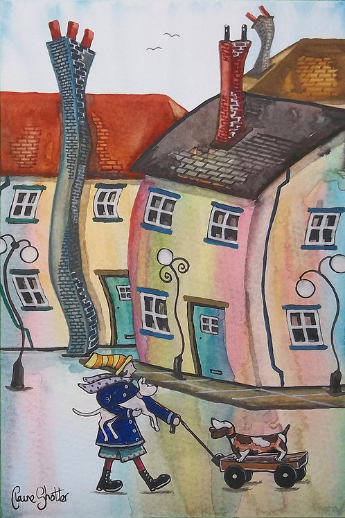 Painting By Claire Shotter. Naive Original Street Scene. Dogs. Houses