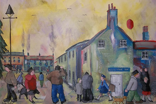 "Original naive street scene painting. ""Masham Square"" by Claire Shotter."
