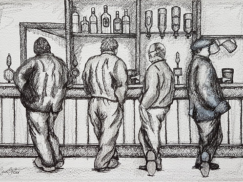 Original Pen And Ink Sketch By Claire Shotter. Pub. Bar