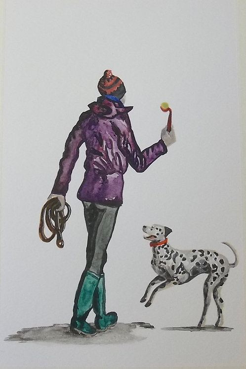 Original Watercolour Painting By Claire Shotter. Dalmatian. Dog Walk.
