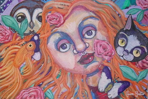 "Original naive abstract painting. ""Moonface"" by Claire Shotter. Owl. Girl"