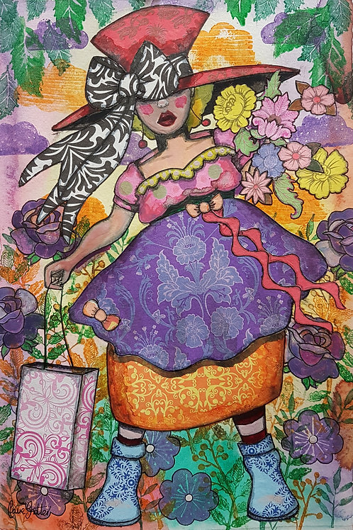 Original Naive Folk Art Lady In Big Hat Painting By Claire Shotter. Flowers