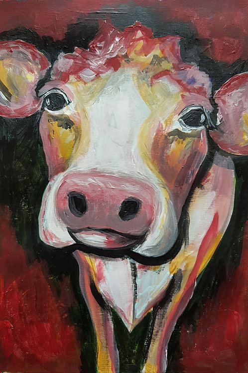 Original Painting Of A Cow By Claire Shotter