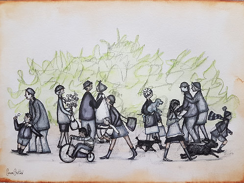Original Naive Street Scene Painting By Claire Shotter. People. Dogs. Children