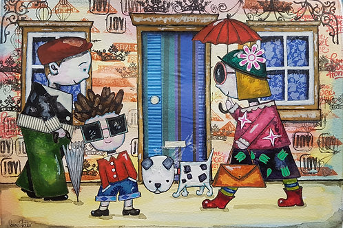 Original quirky naive folk art street scene painting by Claire Shotter. People