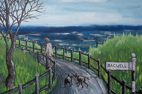 Original Oil Painting By Claire Shotter. Landscape. Street. Dogs.
