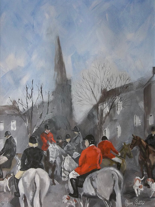 "Original impressionism painting. ""Masham Hunt"" by Claire Shotter. Horses"