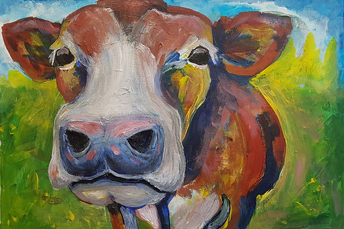 Original semi-abstract cow painting by Claire Shotter. Animals. Farm