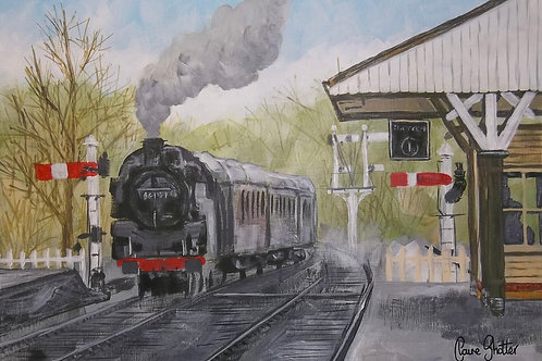 "Original landscape painting. ""On time"" by Claire Shotter. Steam train. Railway"