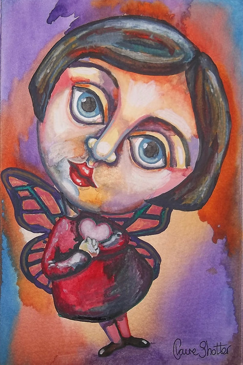 "Original naive painting. ""Butterfly Girl"" by Claire Shotter. Big eyed girl"