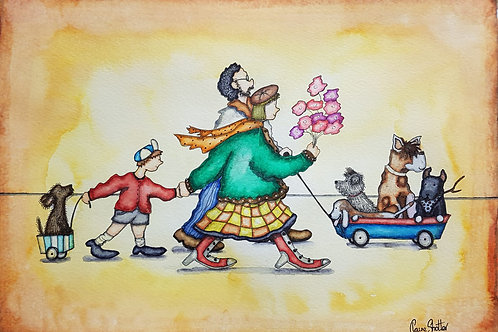 Original Naive Joyful Dogs Painting By Claire Shotter. Dogs. People. Dog Walk